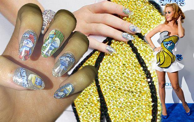 Smerfny manicure Katy Perry