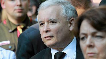 Jarosław Kaczyński w czasie uroczystości podczas rocznicy Powstania Warszawskiego