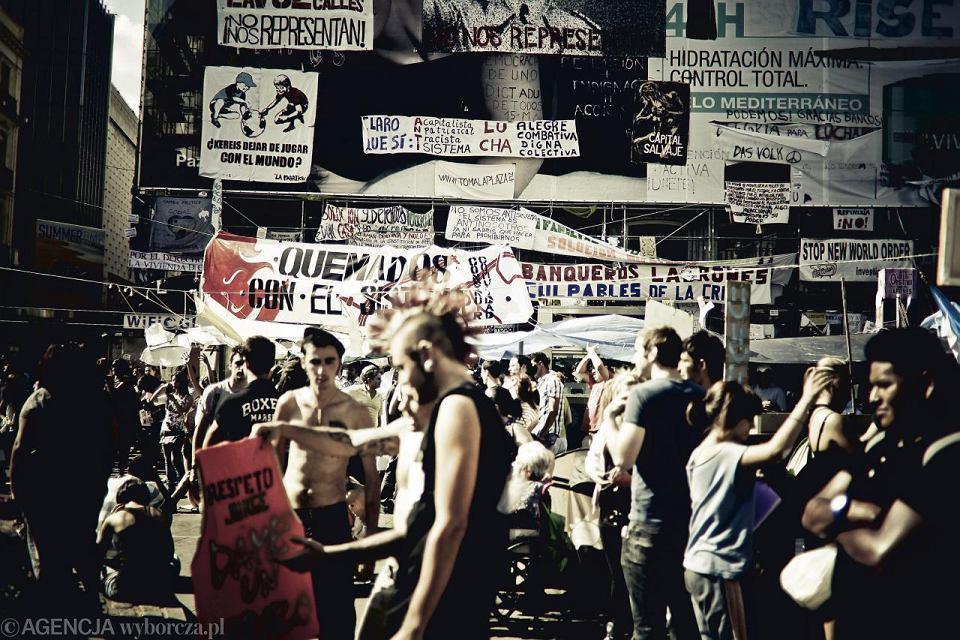 27.05.2011. Hiszpania, Madryt. Demonstracja na placu Puerta del Sol