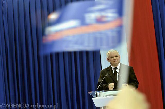 Jarosław Kaczyński podczas konwencji PiS