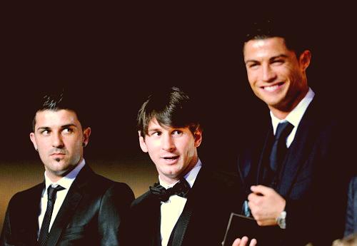 David Villa, Lionel Messi, Cristiano Ronaldo