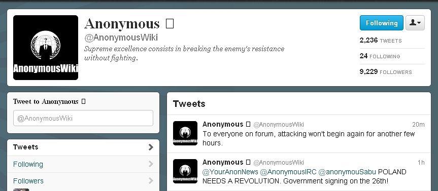 Konto Anonymous na Twitterze