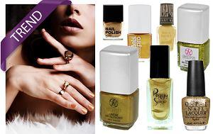 Złote lakiery do paznokci, złota emalia do paznokci, manicure
