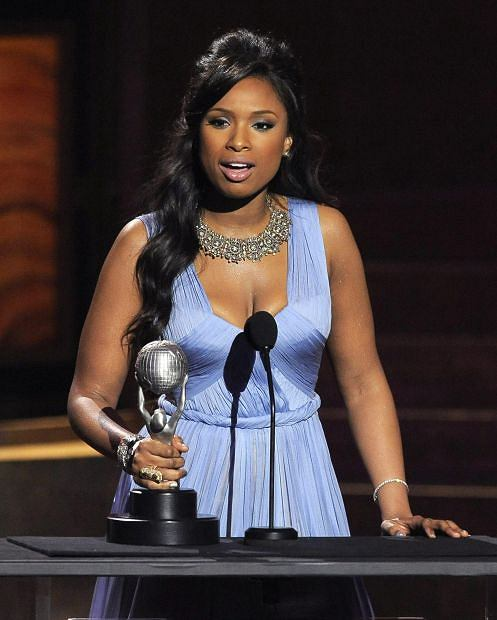 "Jennifer Hudson accepts the award for outstanding album for ""I Remember Me"" at the 43rd NAACP Image Awards on Friday, Feb. 17, 2012, in Los Angeles. (AP Photo/Chris Pizzello)"
