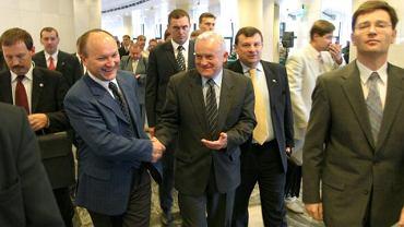 Bydgoszcz, 2003 r. Konsultacje regionalne przed kongresem SLD. Leszek Miller i Grzegorz Gruszka.