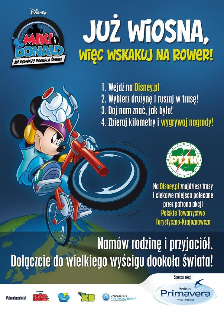 Plakat akcji Miki i Donald: Na rowerze dookoła świata