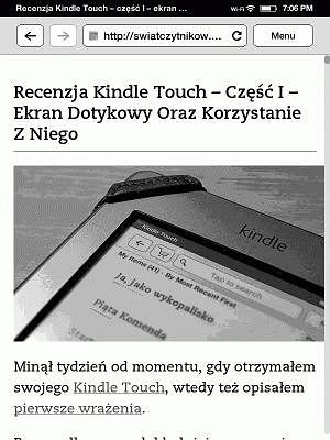 Kindle Touch - Article Mode
