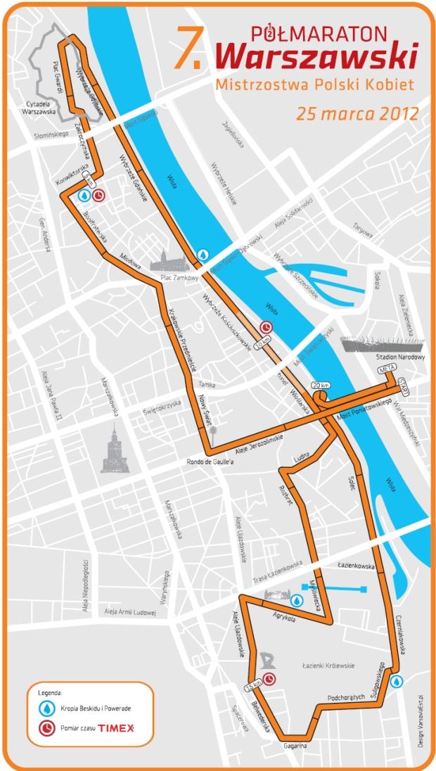 7. półmaraton warszawski - trasa