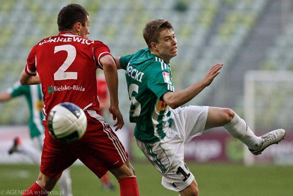 Lechia Gdańsk - Podbeskidzie Bielsko-Biała 2:3. Jakub Kosecki (z prawej) i Tomasz Górkiewicz