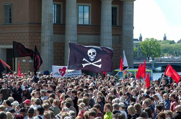 pro-piracki protest w Sztokholmie, 3 czerwca 2006 roku