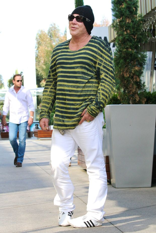 ?NATIONAL PHOTO GROUP   Mickey Rourke is seen out to lunch with a friend in Los Angeles.  Job: 051612J27  EXCLUSIVE May 16th 2012 Los Angeles, CA  NPG.com