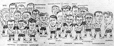 Karykatura przed spotkaniem Niemcy o Polska z 18 września 1938 r. W Chemnitz reprezentacja Polski grała oficjalny mecz międzypaństwowy z Niemcami. Polska przegrała 1:4. W wyjściowej jedenastce zagrał m.in. Ryszard Piec z Naprzodu Lipiny
