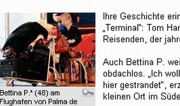 Bettina P. na lotnisku z walizkami i kotem (na walizkach) (fot. za bild.de)