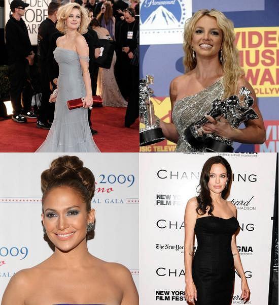 Drew Barrymore fot. AP Photo/Matt Sayles/AG, Britney Spears fot. Chris Pizzello AP, Jennifer Lopez fot. East News, Angelina Jolie fot.REUTERS/Lucas Jackson/AG