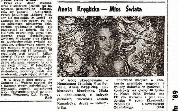 """Wzmianka w """"Gazecie Wyborczej"""" po wygranej Kręglickiej w konkursie Miss World"""