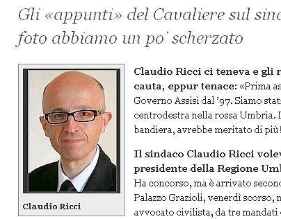 Tekst o Claudio Riccim na stronie internetowej