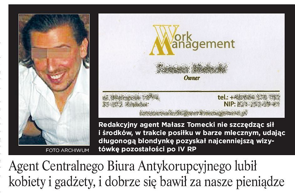 Wizytówka przedrukowana w partyjnej gazetce PO