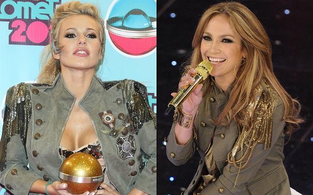 Jak zauważył zaprzyjaźniony serwis Lula.pl, Doda pojawiła się na gali Viva Comet w płaszczu marki Balmain, który kilka dni temu miała na sobie również Jennifer Lopez podczas występu w San Remo. Oczywiście nie sądzimy, by Dorota skopiowała Jenn - miałaby bardzo mało czasu na to, by kupić taki sam płaszcz. Obie panie musiały go kupić mniej więcej w tym samym czasie. Która z nich wygląda w nim lepiej?