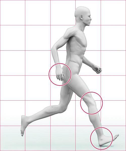 ZŁY KROK - kolano przy lądowaniu na ziemi jest wyprostowane (wstrząs zamiast amortyzacji); - pięta przyjmuje całe uderzenie, palce stopy są zadarte do góry (to hamowanie z szarpnięciem całej nogi); - ramiona nie wspomagają kroku, są zbyt nisko