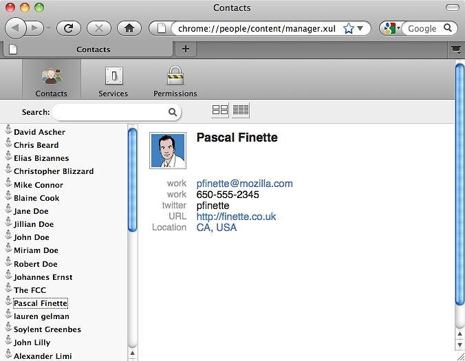 Rozszerzenie Contacts - karta kontaktu