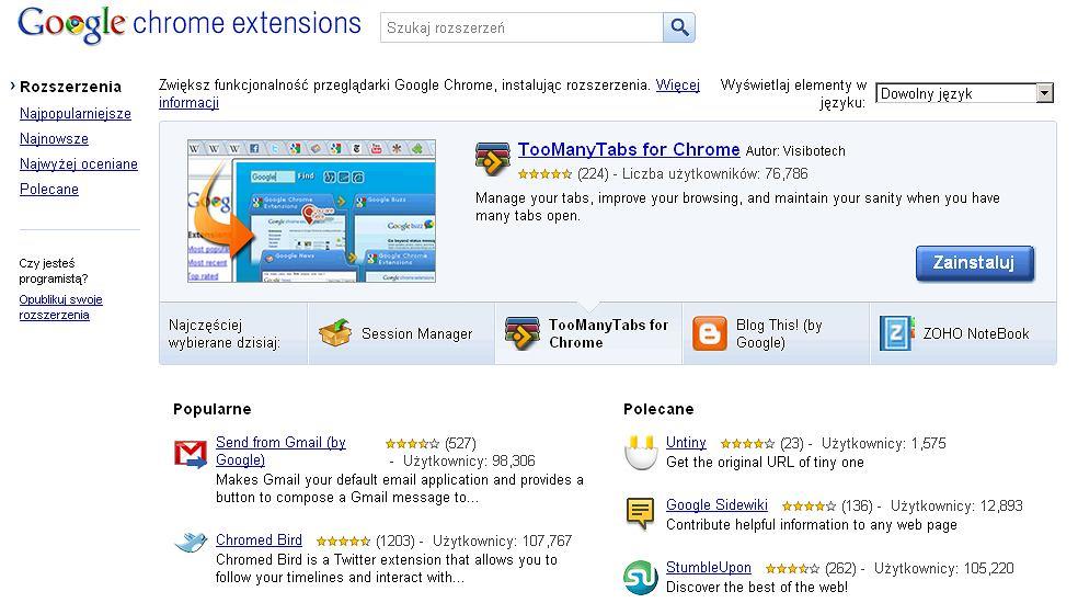 Rozszerzenia do Google Chrome