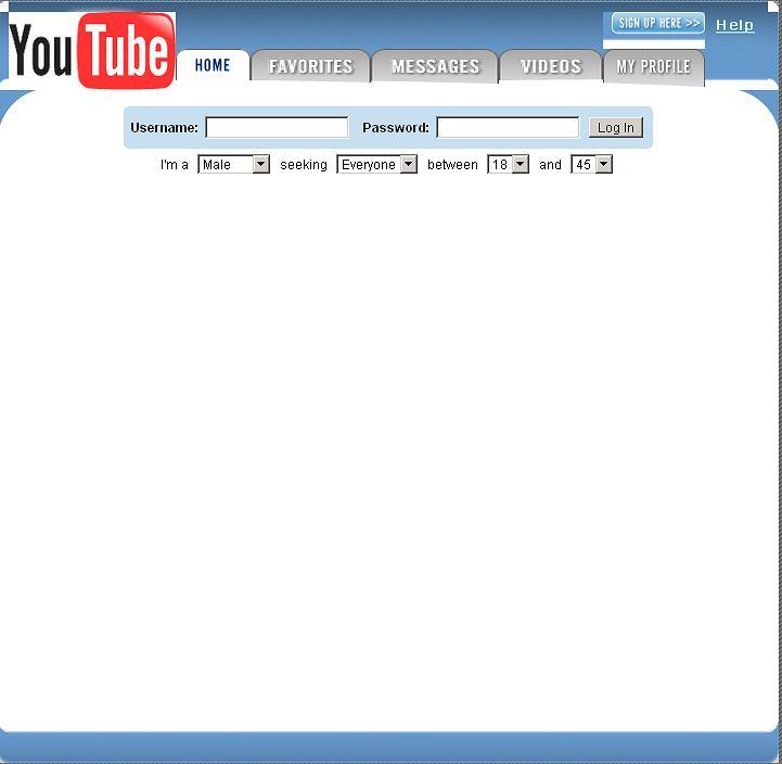 To pierwszy zrzut ekranu zarejestrowany przez Web Archive (28 kwietnia 2005). Widać na nim, że początkowo YouTube kierował się nieco w stronę serwisu randkowego (Pan pozna Panią). Szybko jednak z tego pomysłu zrezygnowano. W kwietniu 5 lat temu serwis był już od 3 miesięcy zarejestrowany, a 23.04 na YouTube pojawił się pierwszy film. W maju rozpoczęła się wersja beta.