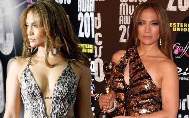 Tych kreacji J.Lo nie może zaliczyć do udanych. Szczególnie miedziana suknia z piórami wyglądała jak zemsta krawcowej.