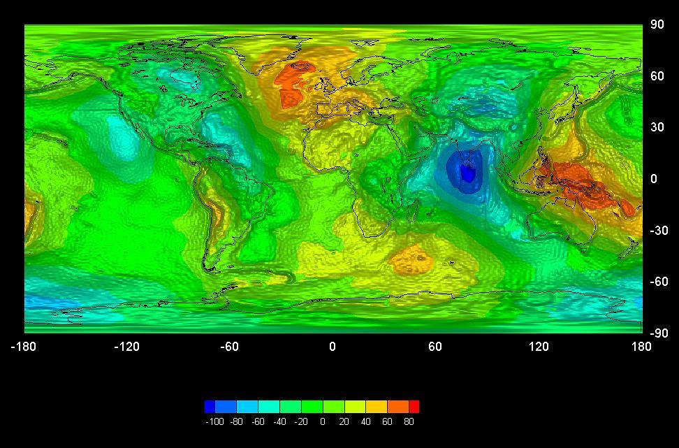 Mapa pola grawitacyjnego Ziemi