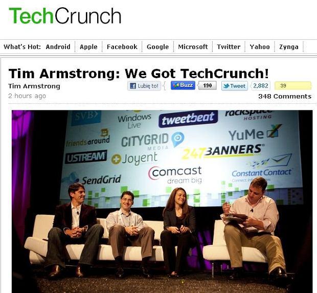 Podpisanie umowy zakupu TechCrunch