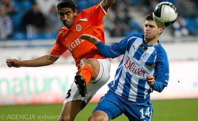 Lech - Zagłębie 0:1. Z lewej Sergio Reina