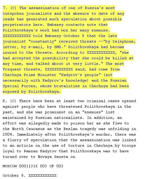 Fragment depeszy ujawnionej przez WikiLeaks