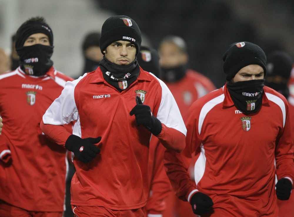 Piłkarze Sportingu Braga podczas treningu przed meczem Ligi Mistrzów
