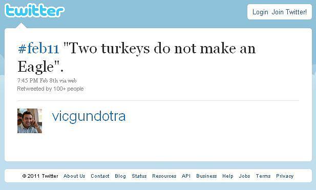 Dwa indyki nie czynią orła - wpis Vica Gundotry na Twitterze sugerujący, że Nokia rozpocznie współpracę z Microsoftem