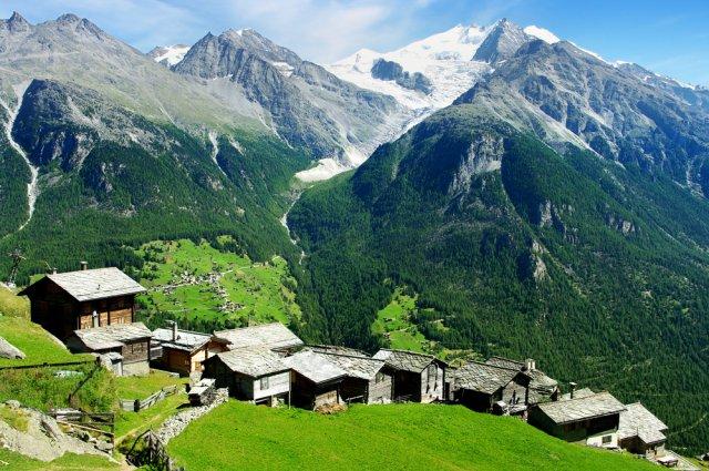 szwajcaria, góry, wioska