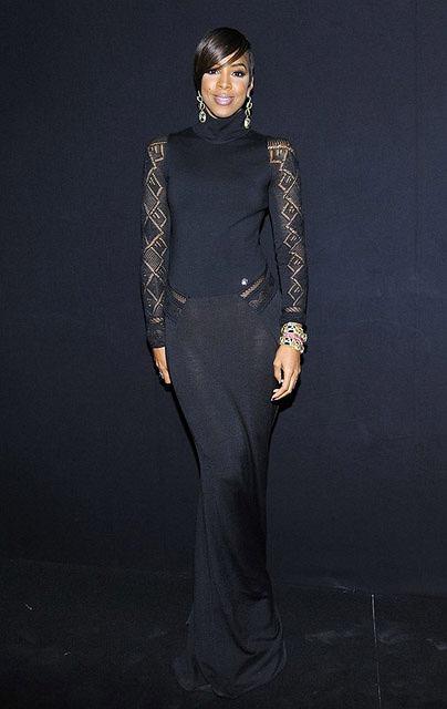 Była członkini Destiny's Child - Kelly Rowland na pokazie Robeto Cavalli na jesień i zimę 2011/12 podczas tygodnia mody w Mediolanie.