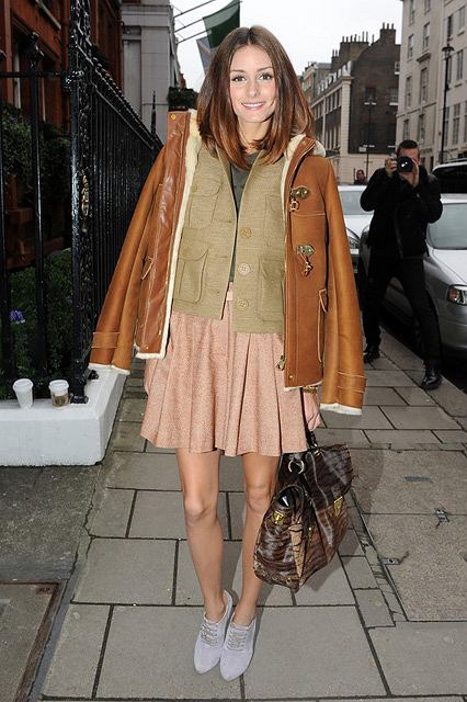 Olivia Palermo na pokazie Mulberry na London Fashion Week