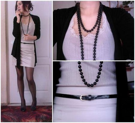bluzka - second hand, spódnica - H&M, narzutka - Amisu, buty - New Look, pasek - H&M, korale - zwykły sklepik
