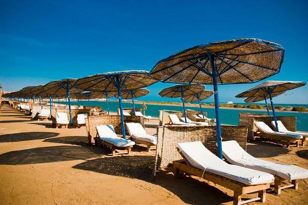 Egipt, El Gouna, plaża przy hotelu