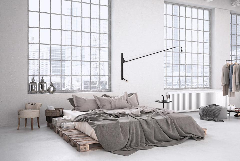 Oświetlenie boczne w sypialni loftowej.
