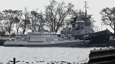 Ukraińskie okręty zajęte przez Rosję w porcie w Kerczu na okupowanym Krymie