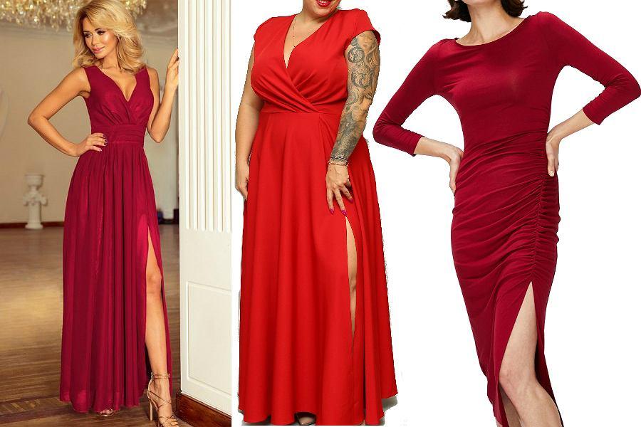 długie, czerwone sukienki z rozcięciem na nodze