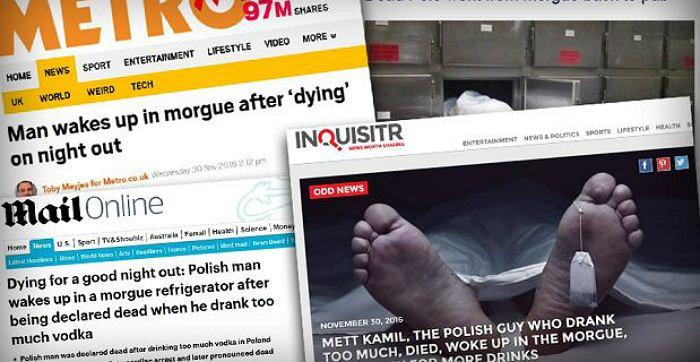 Fałszywa informacja o Polaku, który obudził się w kostnicy