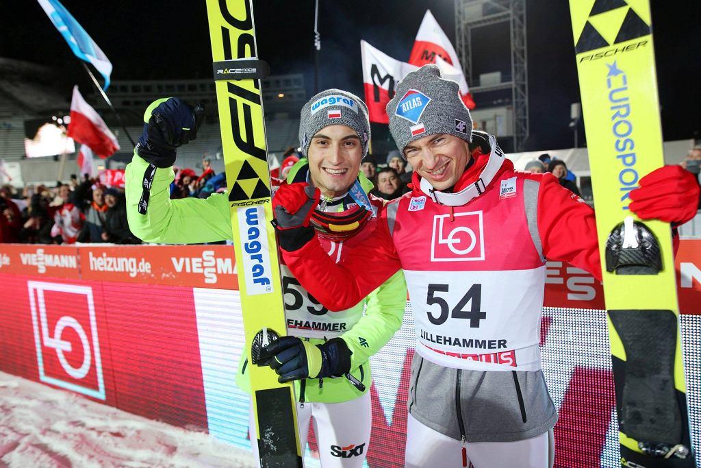 Maciej Kot i Kamil Stoch po triumfie w Lillehammer