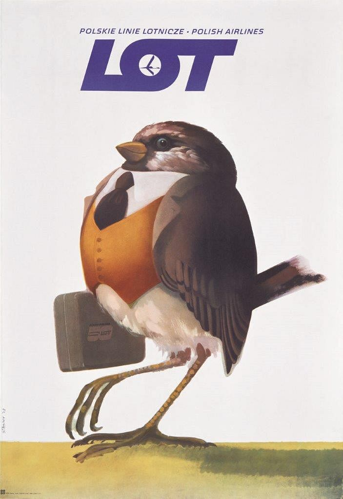 Plakat promocyjny LOT-u; Janusz Stanny; 1978 r.