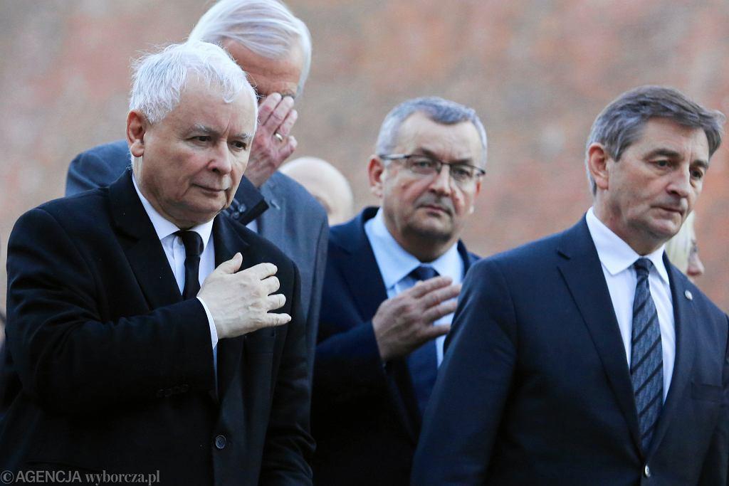 Jarosław Kaczyński, Ryszard Terlecki, Andrzej Adamczyk i Marek Kuchciński