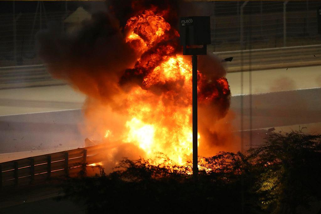 Romain Grosjean, wypadek na torze w Bahrajnie