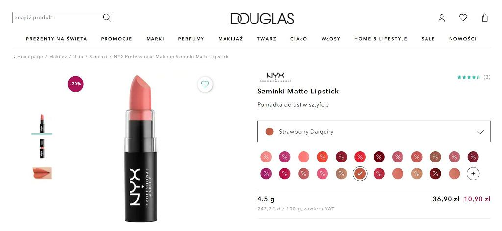 Szminka Matte Lipstick marki NYX Professional Makeup na promocji w Douglas