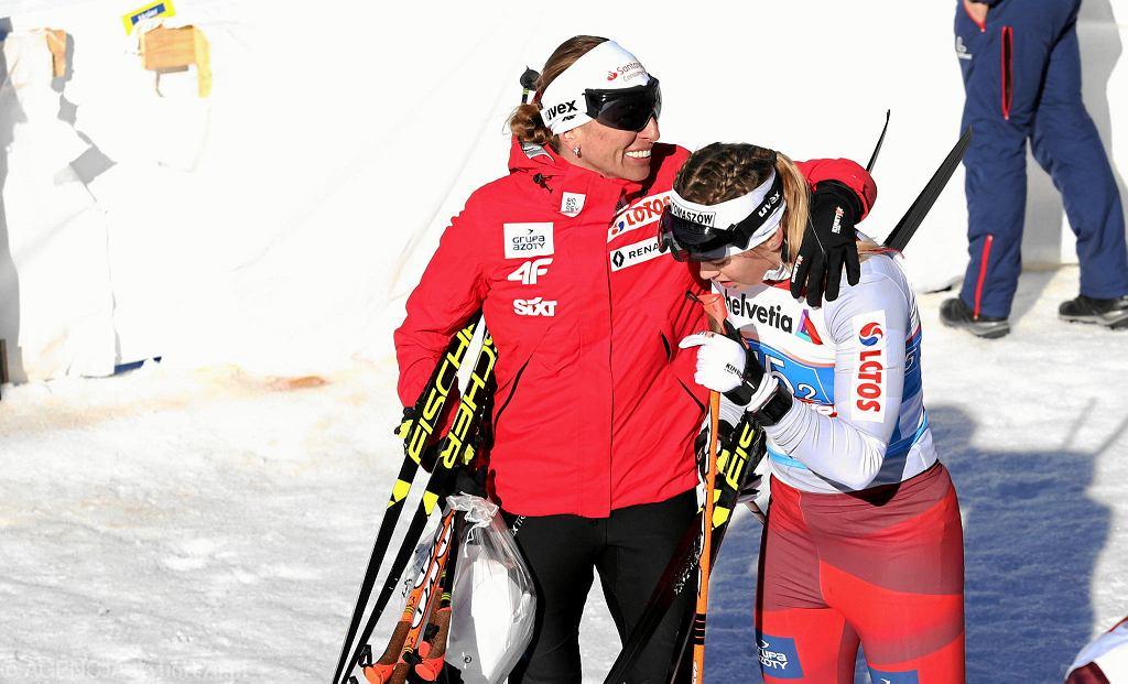 MŚ Seefeld 2019. Justyna Kowalczyk (z lewej) i Monika Skinder