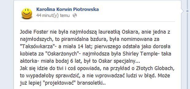 facebook, karolina korwin piotrowska, anna wendzikowska