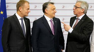 Szef Rady Europejskiej Donald Tusk, premier Węgier  Viktor Orban i przewodniczący Komisji Europejskiej  Jean-Claude Juncker